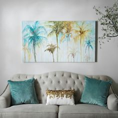 Watercolor Palms Canvas Art Print | Kirklands