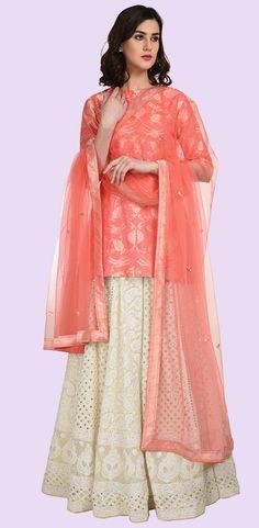 Peach Banarasi Zari Top With Chikankari Lehenga Skirt & Dupatta