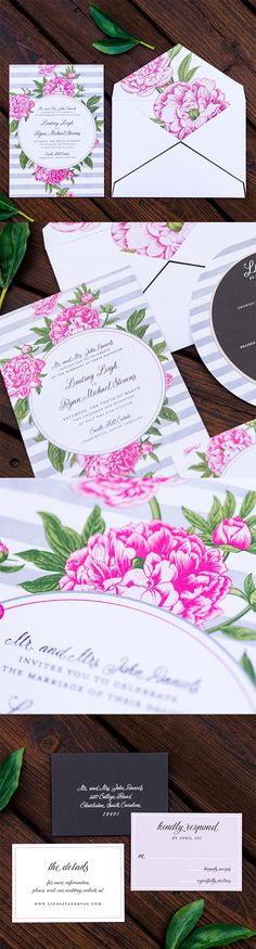 #Floral and Spring #wedding #invitation by @engagingpapers. Perfect for a spring or summer wedding, this sweet and simple wedding invitation features luxurious vibrant peonies complimented by a background of cool gray watercolor stripes.