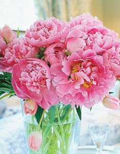 vase with pink peonies like the ones that used to grow at our farmhouse