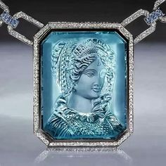 Image from Russian jewelry magazine. Aquamarine cameo.