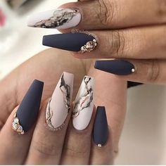 Marble Nail Designs, Cute Acrylic Nail Designs, Marble Nail Art, Best Acrylic Nails, Nail Art Designs, Nails Design, Black Marble Nails, White Marble, Acrylic Art