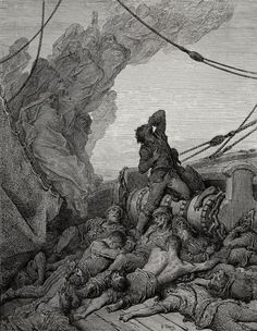 And never a saint took pity on My soul in agony - from The Rime of the Ancient Mariner - by Paul Gustave Dore - Plate 16 (Gillot, engraver)