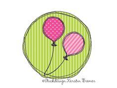 Ballon Doodle Stickmuster für eine Stickmaschine. Balloon Doodle Appliqué embroidery for embroidery machines.