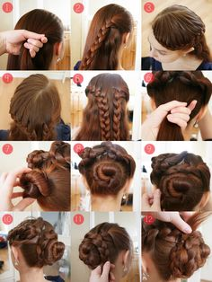 braid a section on right side. lace braid other side. bun the bottom of hair. lay the two braids around the bun
