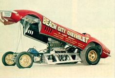 Beach City Chevrolet Funny Car in the sand