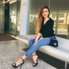 """@kristina_bazan's photo: """"Out and about in L.A! Denim and messy hair kind of day. Off to a vocal session now  #kaytureonthego"""""""