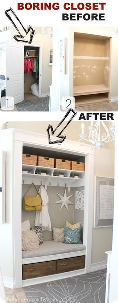 DIY Closet Makeover -- A list of some of the best home remodeling ideas on a bud. DIY Closet Makeover -- A list of some of the best home remodeling ideas on a budget. Easy DIY, cheap and quick updates f. Easy Home Decor, Cheap Home Decor, Easy Diy Room Decor, Home Renovation, Home Remodeling, Kitchen Remodeling, Living Room Renovation Ideas, Cheap Remodeling Ideas, Remodeling Contractors