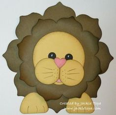 handmade card ... adorable shaped card ... Floral Framelit Lion ,,, dies and punches ... luv this sweet lion!! ... Stampin' Up!