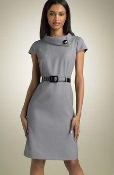 Vestido coquetel, cinza.