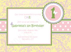 Customize this Floral, Modern, Butterfly, Pastel, Birthday Invitation.
