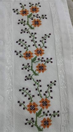 This Pin was discovered by Gül Cross Stitch Bookmarks, Cross Stitch Borders, Cross Stitch Flowers, Cross Stitch Designs, Cross Stitching, Cross Stitch Patterns, Hand Embroidery Design Patterns, Embroidery Sampler, Cross Stitch Embroidery