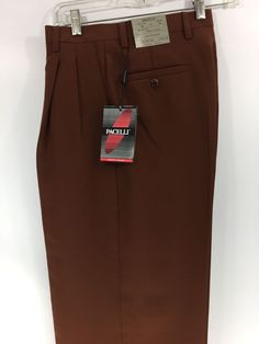 Men's Rust Dress Pants 2-Pleats with Cuff Hem Polyester Pacelli Pierce 29 - 52 #Pacelli #DressPleat