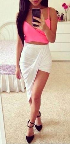 White Ruched Twist Draped Asymmetric Stretchy Waist High Low Mini Maxi Skirt