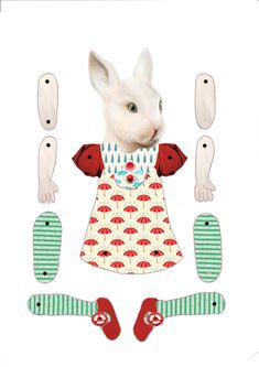 Jointed Paper Doll Bunny