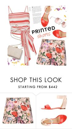 """""""Charming outfit"""" by magdafunk ❤ liked on Polyvore featuring Gucci, Bionda Castana, MDS Stripes, Chanel, Kayu, prints, printedshorts, flatsandals, daretomix and stripestop"""