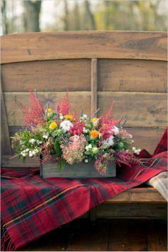 colorful fall floral arrangement  #engagementideas #weddingchicks http://www.weddingchicks.com/2013/12/24/fall-in-love-engagement/