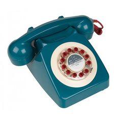 Teléfono Británico azul rojo beige sonido campana - €69,95