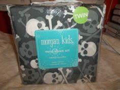 3PC Skull Twin Size Sheet Set Morgan Kids Dark Gray Cross Bones Microfiber