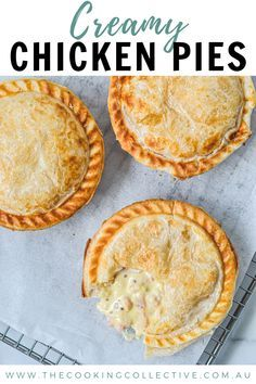 Irresistible pies topped with golden puff pastry, filled with tender chicken, bacon & mustard.This creamy chicken pie with puff pastry is pure comfort food! Chicken Pie Recipe Easy, Creamy Chicken Pie, Chicken Recipes, Turkey Recipes, Mini Pie Recipes, Pastry Recipes, Cooking Recipes, Oven Recipes, Duck Recipes