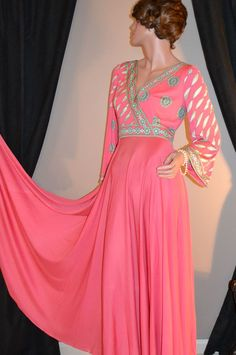 1970s Emilio Pucci ~ Saks Fifth Ave Coral Pink Maxi Dress from Kitsch & Couture