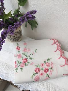 Vintage table cloth. Pink 35 square. Never been used by Ocovintage