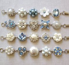 Wedding bracelets, powder blue, vintage earring bracelets, pastel, cluster earring bracelet, blue, vintage wedding, bridal party, dusty blue