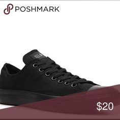 All black low top Converse Will upload pictures soon. Converse Shoes Sneakers