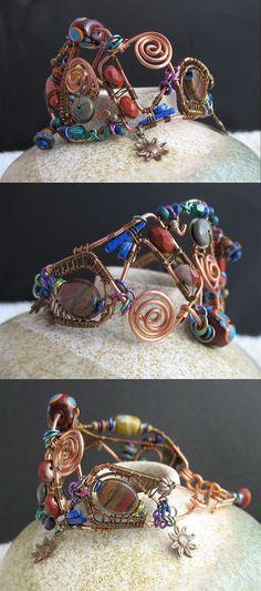 Artisan Free Form Wire Wrapped Copper Brass by LoneRockJewelry