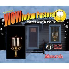 Menorah 34.5x60 Holiday Window Decoration Poster, Multicolor