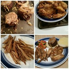 Rodeo burgers, Old Bay wings, and Old Bay fries