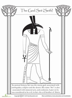 For students studying ancient Egypt, get a closer look at Set, the Egyptian god of chaos. Read a few interesting facts about him as you color this page.
