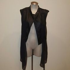 black faux leather vest faux leather and sheer vest with zippers Jackets & Coats Vests
