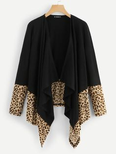 Leopard Hem Open Front Coat - Multicolor Casual Long Sleeve Leopard Coat Fabric has some stretch Spring/Fall Outerwear, size features are:Length: Regular,Sleeve Length : Long Sleeve, - Leopard Print Outfits, Couture, Fashion News, Casual Outfits, Kimono Top, Fashion Dresses, My Style, Womens Fashion, How To Wear