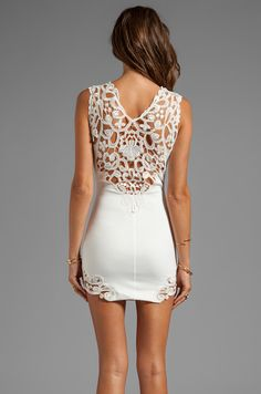 DRESS THE POPULATION Elizabeth Tank Dress with Crochet Detail in Ivory | REVOLVE