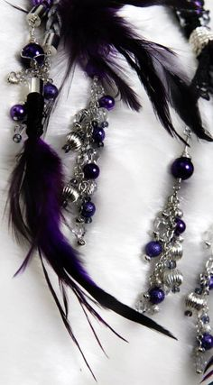 Handfasting cord in purple, black and silver with Swarovski crystals, plus black and purple feathers, these are the colors of my wedding. Peacock Wedding, Purple Wedding, Diy Wedding, Dream Wedding, Wedding Ideas, Spring Wedding, Wedding Bells, Wiccan Wedding, Celtic Wedding