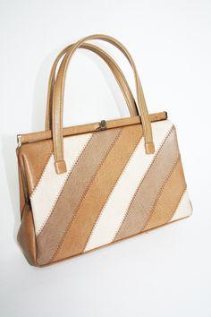 761d72b970 tan striped vintage handbag Vintage Bags
