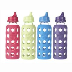 Lifefactory's Glass Sippy Cap Bottles are a safe, non-toxic #reusable alternative to plastic sippy cups for toddlers! The colorful silicone sleeve help protect and provides a non-slip gripping surface. Leak-resistant sippy cap makes it easy for wee ones to drink!