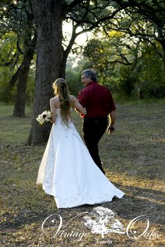 """Father-of-the-Bride escorts the bride under the oak trees to say """"I do!"""" beautiful outdoor wedding venue Vintage Oaks Events www.vintageoaksevents.com"""