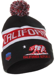 bdcfcbea7e9 US Cities California Republic Bear Cuff Pom Pom Beanie Knit Hat Cap - Many  Colors (One Size
