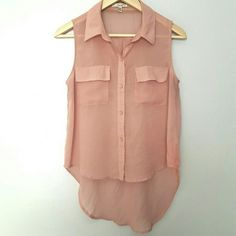 Peach Button Down Hi Lo Sleeveless Sheer Top Excellent condition. 100% polyester. Fast shipping. Thank you for shopping my closet  Papaya Tops