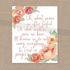 INSTANT DOWNLOAD - Peace through Prayer floral 8x10 bible verse wall art decor on Etsy, $6.00