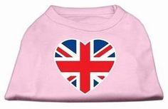 Mirage Pet Products British Flag Heart Screen Print Shirt, X-Small, Light Pink