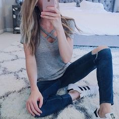 Keepin it casual today working from home with my baby boy. I can't believe my little man will be 2 next month. What!? Mama Mia where does the time go!? Ladies this tee is $24, comes in 3 colors, is super comfy, and you need it. End of story ;) Tee, jeans, and sneaks linked right this way --> http://liketk.it/2pUZY @liketoknow.it #liketkit #Regram via /leeannebenjamin/