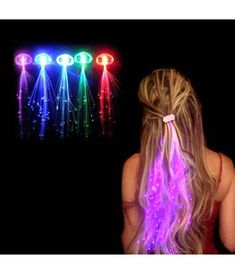LED Light Up Hair Extensions - Glow in the dark party - Hair Styles Glow In Dark Party, Glow Run, Light Up Costumes, Neon Birthday, Blacklight Party, Disco Party, Led Licht, Glow Sticks, Party Lights