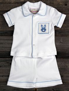 abb29d5473 Boys Smocked Bunny Pajamas for Easter from Smocked Auctions Easter Pajamas