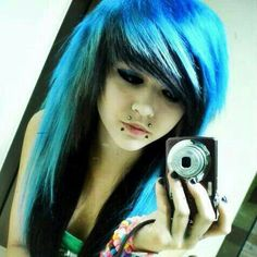 Or do my hair like this but a darker blue and blonde