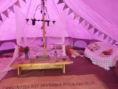 6m bell tent carpet and homemade bunting