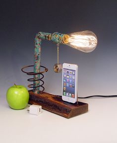 iPhone dock AND table lamp. Live edge reclaimed wood. Steam punk. Industrial. From hairqueen48 on Etsy.