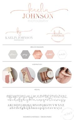 Rose Gold Watercolor Logo Design / Custom by MacaronsandMimosas